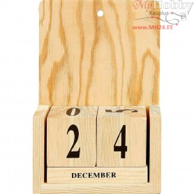 Calendar with Date Cubes, size 13x5,5x19,2 cm, poplar wood, 1set