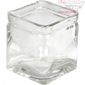 Square Candle Holder, size 7,5x7,5 cm, H: 8 cm, 12pcs