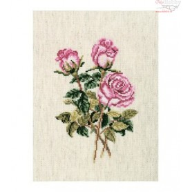 RTO Roses on linen - Counted Cross Stitch Kit, Art: C179