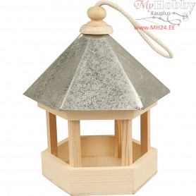 Bird Table with zinc roof, size 22x18x16,5 cm, pine, 1pc