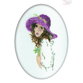 RTO Young lady with a bouquet - Counted Cross Stitch Kit, Art: R292