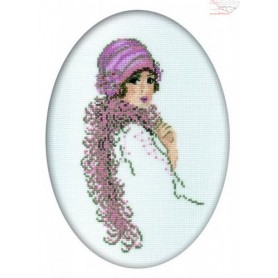 RTO Young lady in boa - Counted Cross Stitch Kit, Art: R293