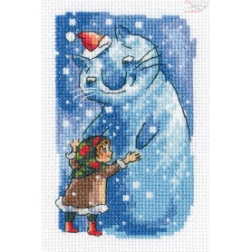 RTO Girl and snow cat - Counted Cross Stitch Kit, Art: EH380