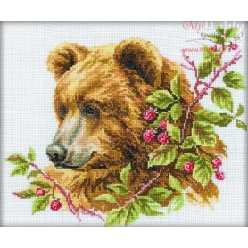 RTO Bear and Raspberry - Counted Cross Stitch Kit, Art: M110