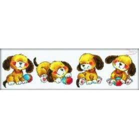 RTO Playing puppies - Counted Cross Stitch Kit, Art: M161