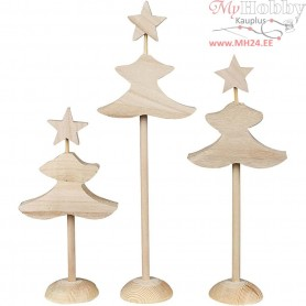 Christmas Trees, largest size 26 cm, birch, 6pcs