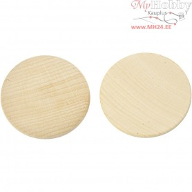 Wooden buttons, D: 50 mm, thickness 10 mm, china berry, 5pcs