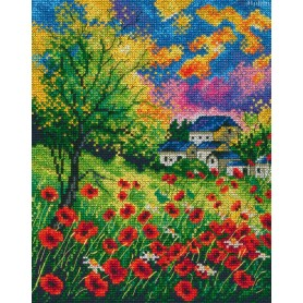 RTO Red Poppies On The Field - Counted Cross Stitch Kit, Art: M624