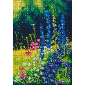 RTO Delphinium and cosmos - Counted Cross Stitch Kit, Art: M626