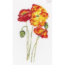 RTO Silk poppies - Counted Cross Stitch Kit, Art: M628