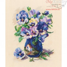 RTO Pansies in torguay pottery - Counted Cross Stitch Kit, Art: M719