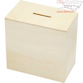 Money Box, H: 10 cm, size 6x10 cm, plywood, 10pcs