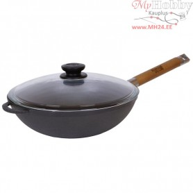 Cast iron WOK pan with removable handle (Ø 26 cm depth 14.2 cm)