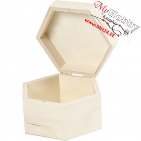 Jewellery Box Hexagonal, size 12x7 cm, inner size 10.5x6.6 cm, plywood, 1pc