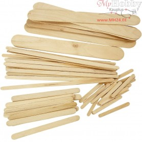 Ice Lolly Sticks, assortment, L: 5,5-20 cm, W: 6-25 mm, 4250pcs
