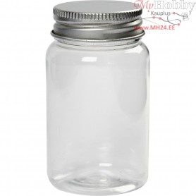 Plastic Jar with Screw-on Lid, H: 77 mm, D: 45 mm, 10pcs, 100 ml