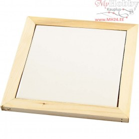 Trivet with wooden frame, outer size 15x15 cm, inner size 10,8x10,8x0,4 cm, pine, 1pc