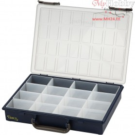 Storage Box, size 33.8x26.1 cm, H: 5.7 cm, with 16 Removable Insert Boxes, 1pc, hole size 5.5x7.9x4.7 cm