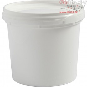 Plastic Bucket with Lid, H: 9.5 cm, D: 9.2 cm, 385 ml, 20pcs