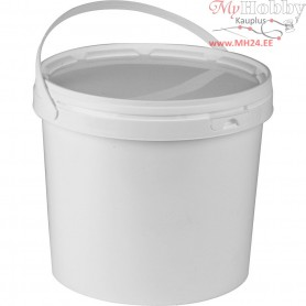 Plastic Bucket with Lid, H: 20 cm, D: 22 cm, 5,8 l, 10pcs