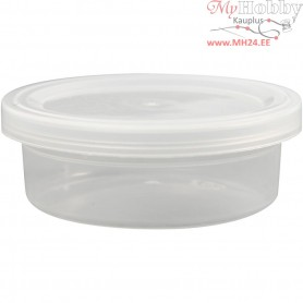 Plastic Tub with Lid, H: 24 mm, D: 68 mm, 20pcs, 45 ml