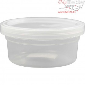 Plastic Tub with Lid, H: 38 mm, D: 84 mm, 20pcs, 125 ml
