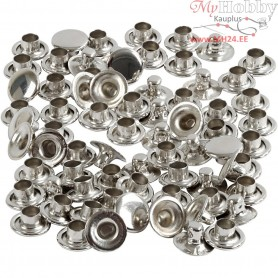 Rivets, D: 7 mm, silver, 50pcs