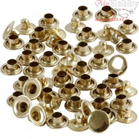 Rivets, D: 7 mm, brass, 50pcs