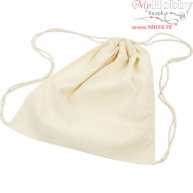 Drawstring bag, size 37x41 cm,  110 g/m2, light natural, 3pcs