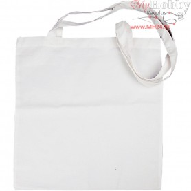 Shopping Bag with Long Handle, size 38x42 cm,  145 g/m2, white, 1pc