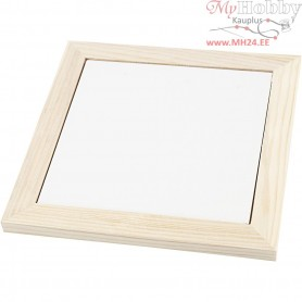 Trivet with wooden frame, outer size 18,5x18,5x1,16 cm, inner size 15x15x0,5 cm, pine, 1pc