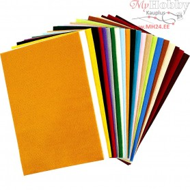 Craft Felt, sheet 20x30 cm, thickness 1,5 mm, asstd colours, sheets, 24asstd. sheets, 180-200 g/m2