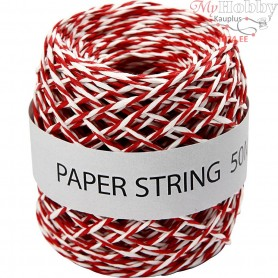 Paper Cord, thickness 1 mm, red/white, 50m