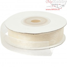 Organza Ribbon, W: 15 mm, cream, 20m