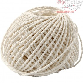 Paper Yarn, thickness 2,5-3 mm, approx. 42 m, white, 150g