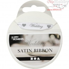 Satin Ribbon, W: 10 mm, white, Wedding, 8m
