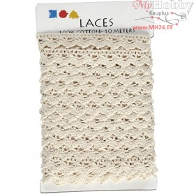 Crochet Lace Border , W: 19 mm, off-white, 10m
