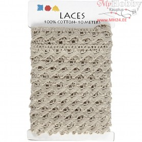 Crochet Lace Border , W: 19 mm, beige, 10m