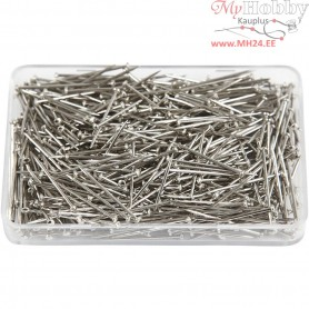 Straight Pins, L: 16 mm, thickness 0,65 mm, silver, 25g