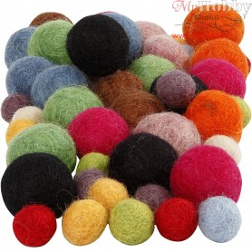 Felt balls, D: 10+20 mm, asstd colours, 52pcs