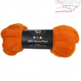 Merino Wool,  21 micron, orange, South Africa, 100g
