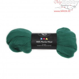 Merino Wool,  21 micron, green, South Africa, 100g