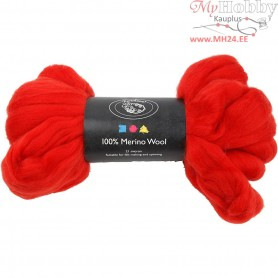 Merino Wool,  21 micron, christmas red, South Africa, 100g