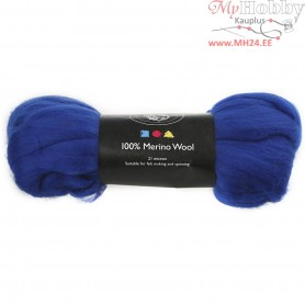 Merino Wool,  21 micron, royal blue, South Africa, 100g