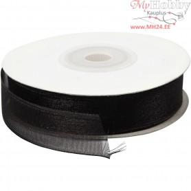 Organza Ribbon, W: 15 mm, black, 20m