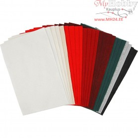 Craft Felt Sheets, sheet 20x30 cm, thickness 1,5 mm, , 24asstd. sheets, 180-200 g/m2