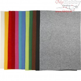 Craft Felt, sheet 42x60 cm, thickness 3 mm, asstd colours, 12asstd. sheets