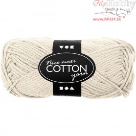 Cotton Yarn, L: 80-85 m, beige, maxi, 50g