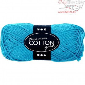 Cotton Yarn, L: 80-85 m, turquoise, maxi, 50g