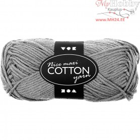 Cotton Yarn, L: 80-85 m, grey, maxi, 50g